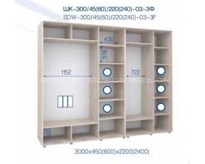 Шкаф купе ШК - 300/450/2200-03-3Ф