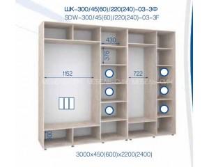 Шкаф купе ШК - 300/600/2200-03-3Ф